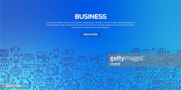 vector set of design templates and elements for business in trendy linear style - seamless patterns with linear icons related to business - vector - accountancy stock illustrations