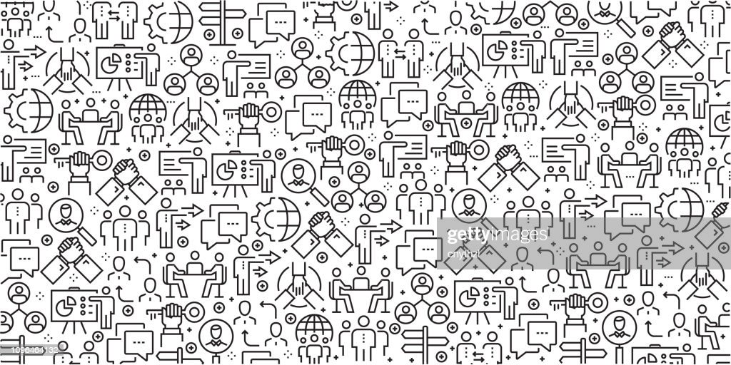 Vector set of design templates and elements for Business People in trendy linear style - Seamless patterns with linear icons related to Business People - Vector : stock illustration