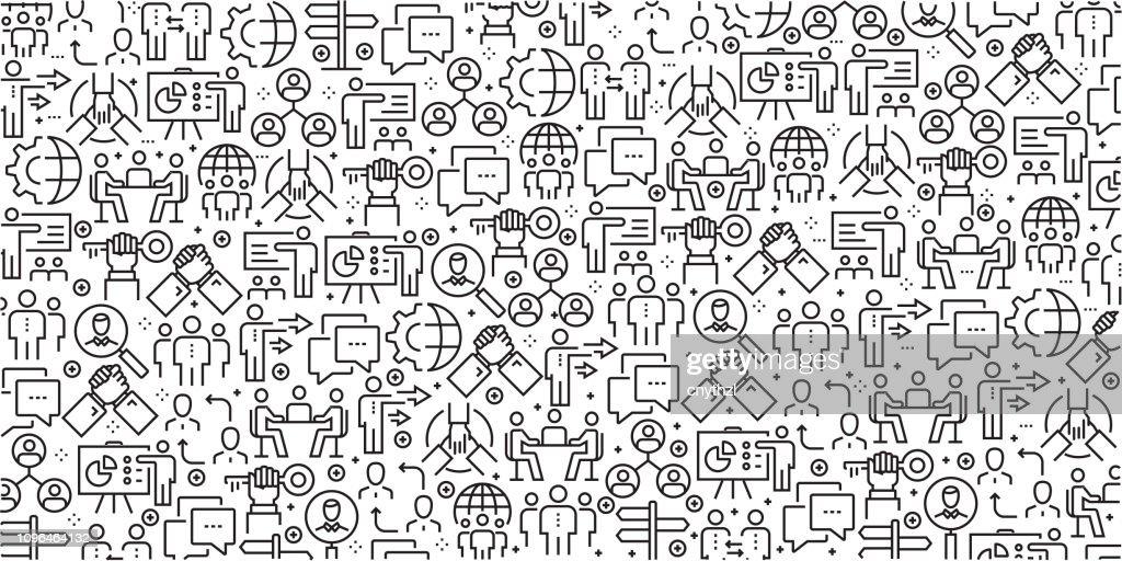 Vektor-Reihe von Design-Vorlagen und Elemente für Geschäftsleute in trendigen linearen Stil - Musterdesigns mit linearen Symbole im Zusammenhang mit Business-Leute - Vektor : Stock-Illustration