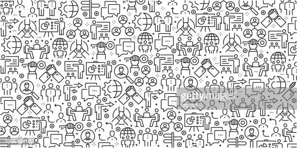 vector set of design templates and elements for business people in trendy linear style - seamless patterns with linear icons related to business people - vector - partnership teamwork stock illustrations