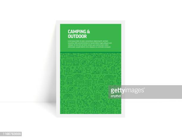 vector set of design templates and elements for camping and outdoor in trendy linear style - pattern with linear icons related to camping and outdoor - minimalist cover, poster design - mountain logo stock illustrations