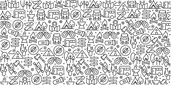 Vector set of design templates and elements for Camping in trendy linear style - Seamless patterns with linear icons related to Camping - Vector - gettyimageskorea