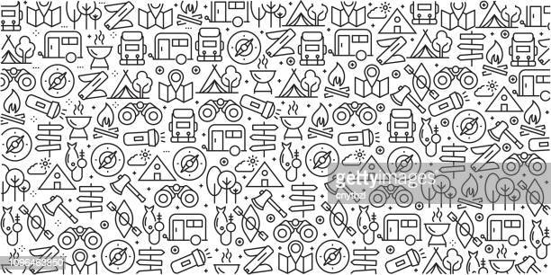 vector set of design templates and elements for camping in trendy linear style - seamless patterns with linear icons related to camping - vector - outdoors stock illustrations