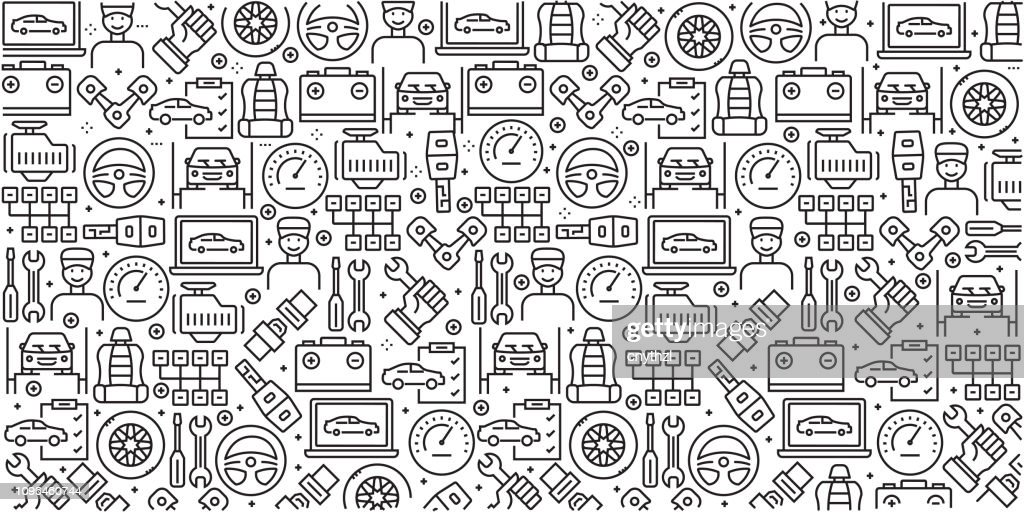 Vector set of design templates and elements for Car Service in trendy linear style - Seamless patterns with linear icons related to Car Service - Vector : stock illustration