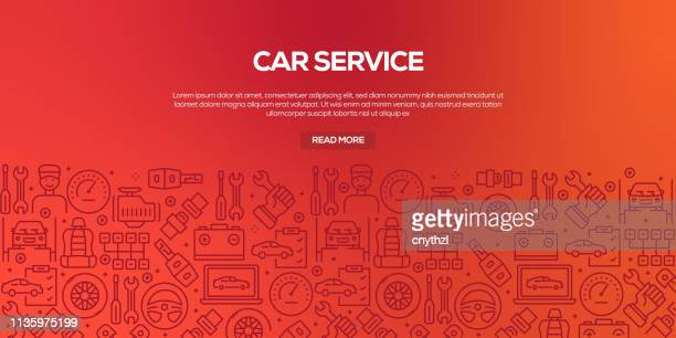vector set of design templates and elements for car service in trendy linear style - seamless patterns with linear icons related to car service - vector - machine part stock illustrations