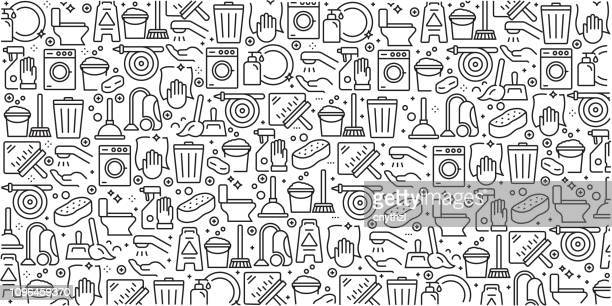 vector set of design templates and elements for cleaning in trendy linear style - seamless patterns with linear icons related to cleaning - vector - iron appliance stock illustrations, clip art, cartoons, & icons
