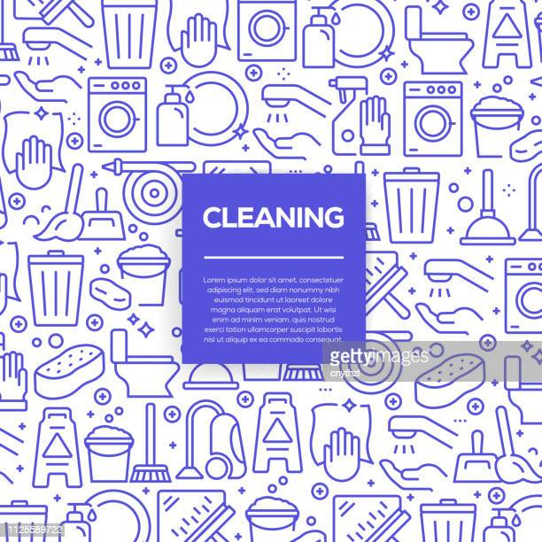 ilustraciones, imágenes clip art, dibujos animados e iconos de stock de conjunto de vector de diseño de plantillas y elementos para limpieza estilo moderno - en patrones sin fisuras con los iconos lineales relacionados con limpieza - vector - interior de la casa