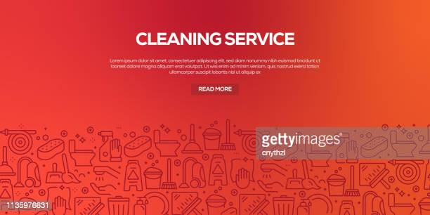 vector set of design templates and elements for cleaning service in trendy linear style - seamless patterns with linear icons related to cleaning service - vector - housework stock illustrations, clip art, cartoons, & icons