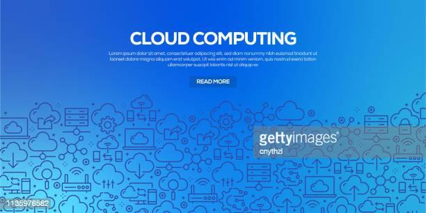 bildbanksillustrationer, clip art samt tecknat material och ikoner med vektor uppsättning av designmallar och element för cloud computing i trendig linjär stil-sömlösa mönster med linjära ikoner relaterade till cloud computing-vector - sponsra
