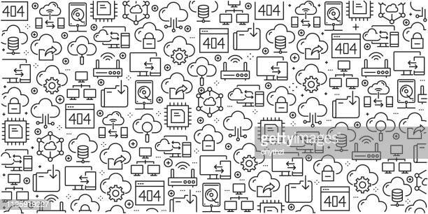 Vector set of design templates and elements for Cloud Data Technology in trendy linear style - Seamless patterns with linear icons related to Cloud Data Technology - Vector