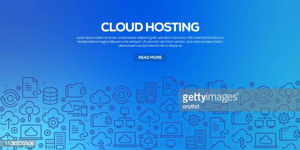 vector set of design templates and elements for cloud hosting in trendy linear style - seamless patterns with linear icons related to cloud hosting - vector - sponsorship stock illustrations