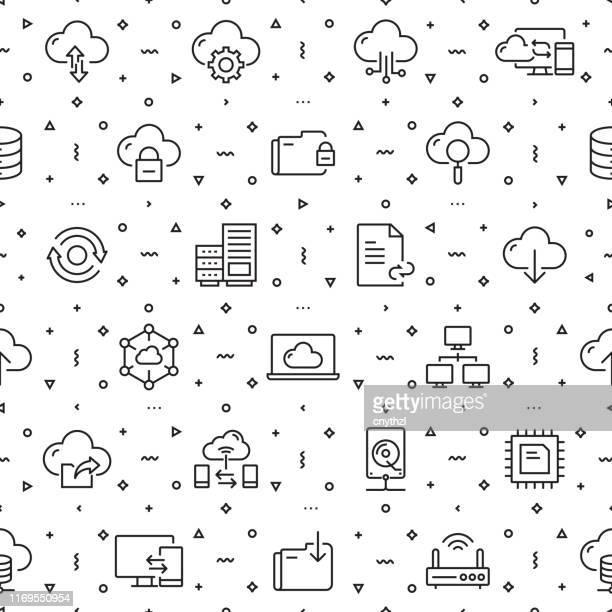 ilustraciones, imágenes clip art, dibujos animados e iconos de stock de conjunto vectorial de plantillas de diseño y elementos para cloud hosting en estilo lineal de moda - patrones sin costuras con iconos lineales relacionados con cloud hosting - vector - patrocinador