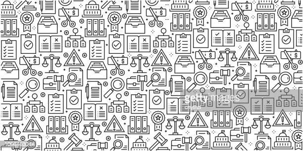 vector set of design templates and elements for compliance in trendy linear style - seamless patterns with linear icons related to compliance - vector - conformity stock illustrations
