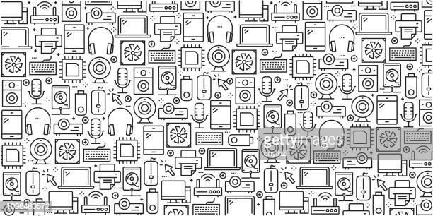 ilustrações, clipart, desenhos animados e ícones de vector conjunto de elementos e modelos de design para dispositivos de computador no estilo linear na moda - padrões sem emenda com lineares ícones relacionados aos dispositivos do computador - vetor - loja de produtos eletrônicos