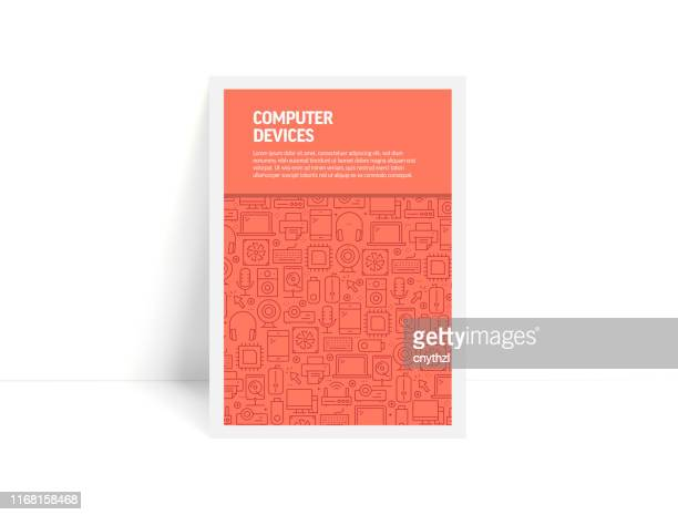 ilustrações, clipart, desenhos animados e ícones de jogo do vetor de moldes e de elementos do projeto para dispositivos de computador no estilo linear na moda-teste padrão com ícones lineares relacionados a dispositivos de computador-capa minimalista, poster design - livraria