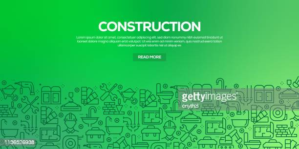 vector set of design templates and elements for construction industry in trendy linear style - seamless patterns with linear icons related to construction industry - vector - work tool stock illustrations