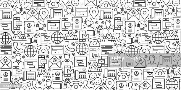 vector set of design templates and elements for contact us in trendy linear style - seamless patterns with linear icons related to contact us - vector - customer service representative stock illustrations