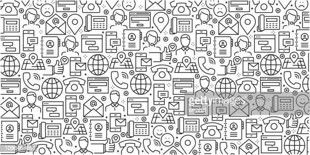 vektor-reihe von design-vorlagen und elemente für kontaktieren sie uns in trendigen linearen stil - musterdesigns mit linearen symbole im zusammenhang mit kontakt - vektor - adressbuch stock-grafiken, -clipart, -cartoons und -symbole