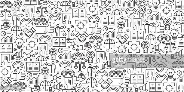 vector set of design templates and elements for core values in trendy linear style - seamless patterns with linear icons related to core values - vector - cultures stock illustrations