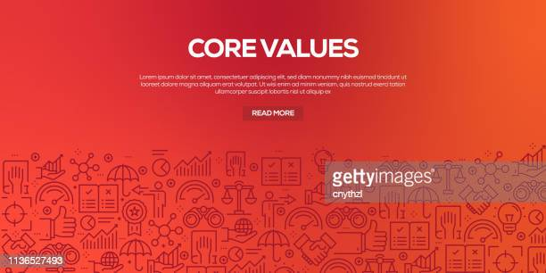 vector set of design templates and elements for core values in trendy linear style - seamless patterns with linear icons related to core values - vector - bank statement stock illustrations