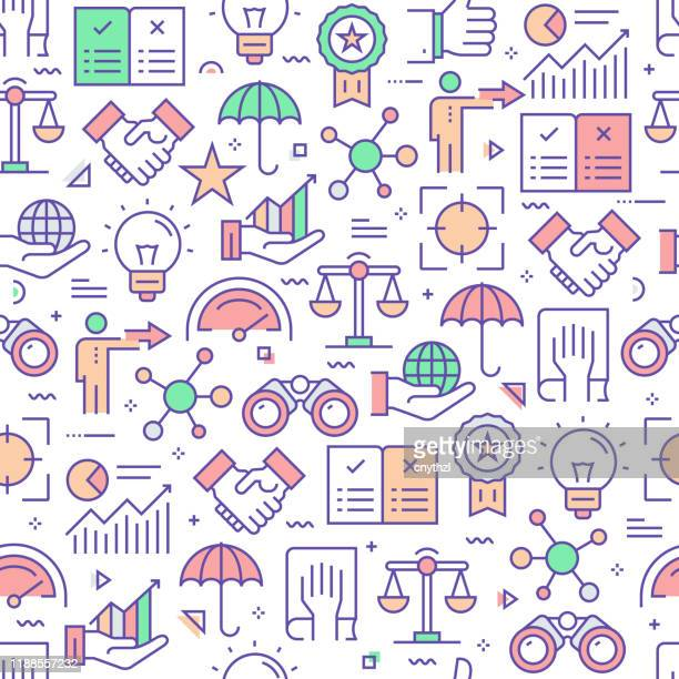 vector set of design templates and elements for core values in trendy linear style - seamless patterns with linear icons related to core values - vector - imagem a cores stock illustrations