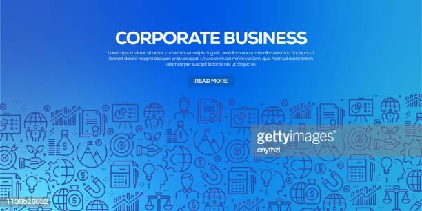 illustrations, cliparts, dessins animés et icônes de ensemble vectoriel de modèles et d'éléments de conception pour corporate business dans un style linéaire tendance-seamless patterns avec des icônes linéaires liées à corporate business-vector - affaires finance et industrie