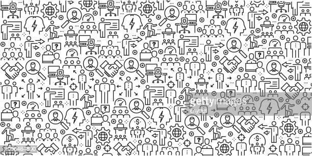 illustrations, cliparts, dessins animés et icônes de vector ensemble de modèles de conception et les éléments pour la gestion intégrée dans un style linéaire branché - profils sans soudure avec icônes linéaires associés à gestion ministérielle - vecteur - culture d'entreprise