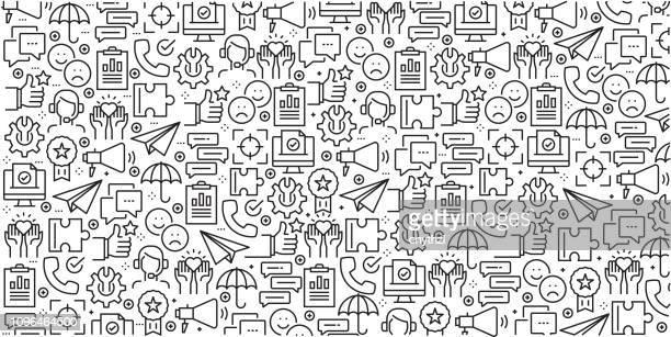 ilustrações, clipart, desenhos animados e ícones de vector conjunto de modelos de design e elementos de relacionamento com o cliente no elegante estilo linear - padrões sem emenda com lineares ícones relacionados ao relacionamento com o cliente - vetor - sabedoria