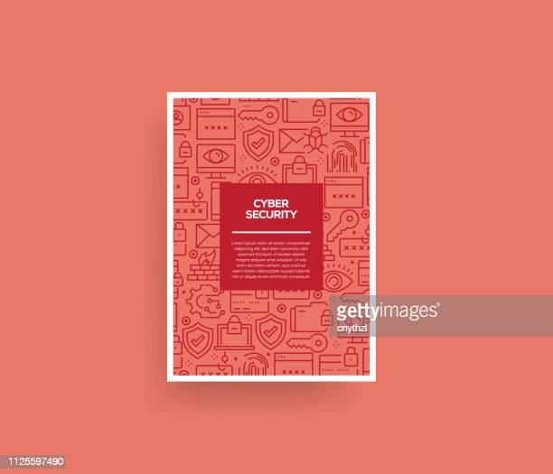 vector set of design templates and elements for cyber security in trendy linear style - seamless patterns with linear icons related to cyber security - vector - antivirus software stock illustrations