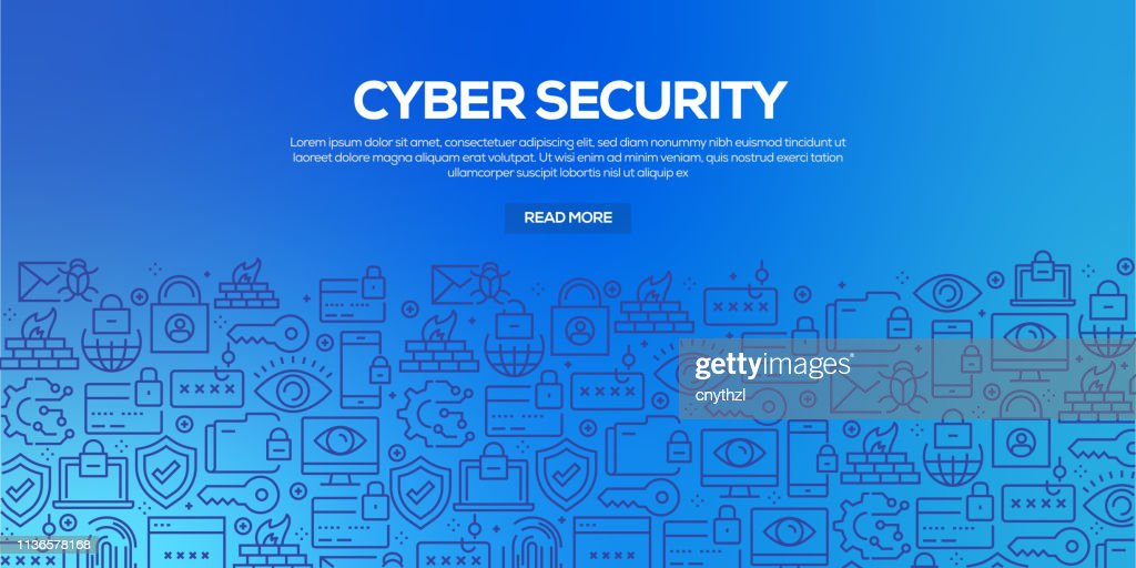 Vector set of design templates and elements for Cyber Security in trendy linear style - Seamless patterns with linear icons related to Cyber Security - Vector : stock illustration