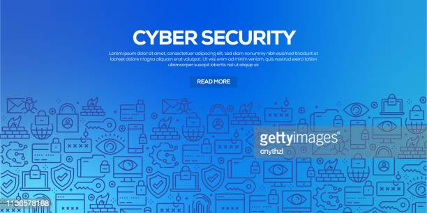 vector set of design templates and elements for cyber security in trendy linear style - seamless patterns with linear icons related to cyber security - vector - confidential stock illustrations