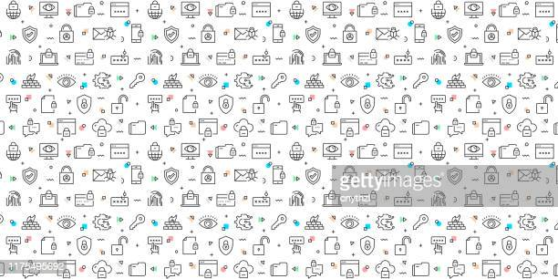 vector set of design templates and elements for cyber security in trendy linear style - seamless patterns with linear icons related to cyber security - vector - computer hacker stock illustrations