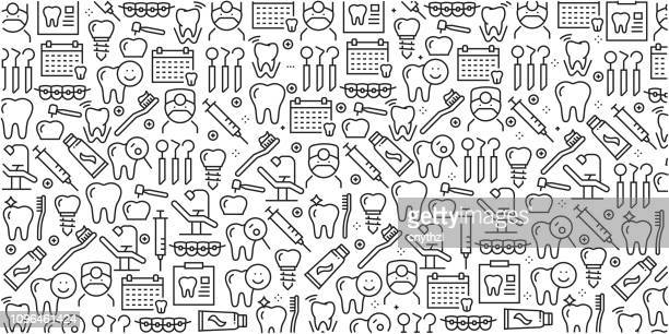 vector set of design templates and elements for dental in trendy linear style - seamless patterns with linear icons related to dental - vector - dental equipment stock illustrations
