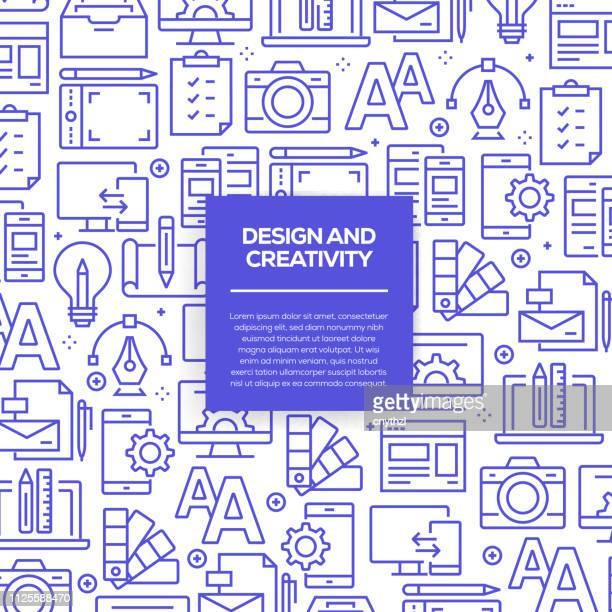 ilustraciones, imágenes clip art, dibujos animados e iconos de stock de vector conjunto de elementos y plantillas de diseño para el diseño y la creatividad en estilo moderno - patrones sin fisuras con iconos lineales relacionados con diseño y creatividad - vector - maletín