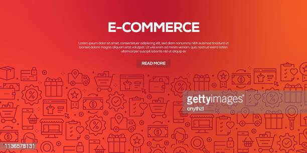 vector set of design templates and elements for e-commerce in trendy linear style - seamless patterns with linear icons related to e-commerce - vector - e commerce stock illustrations
