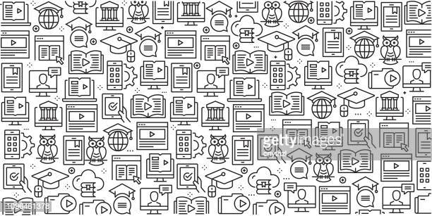 vector set of design templates and elements for e-learning in trendy linear style - seamless patterns with linear icons related to e-learning - vector - library stock illustrations