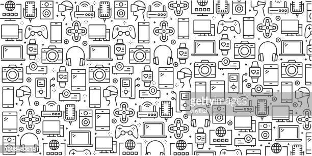 vector set of design templates and elements for electronics and devices in trendy linear style - seamless patterns with linear icons related to electronics and devices - vector - electronics industry stock illustrations