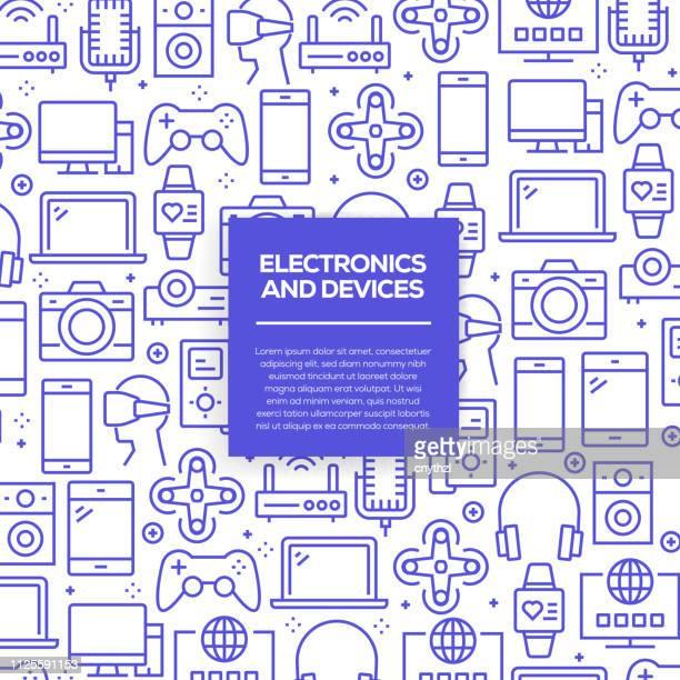 ilustrações, clipart, desenhos animados e ícones de vector conjunto de elementos e modelos de design para eletrônicos e dispositivos em estilo moderno e linear - padrões sem emenda com lineares ícones relacionados com eletrônica e dispositivos - vetor - loja de produtos eletrônicos