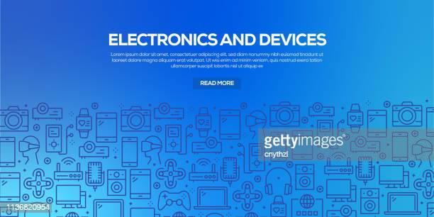 ilustrações, clipart, desenhos animados e ícones de jogo do vetor de moldes e de elementos do projeto para a eletrônica e os dispositivos no estilo linear na moda-testes padrões sem emenda com os ícones lineares relativos à eletrônica e aos dispositivos-vetor - loja de produtos eletrônicos
