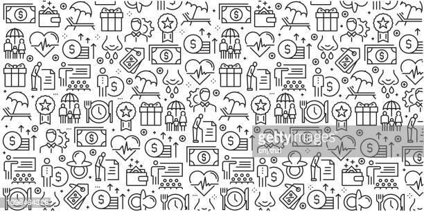 vektor-reihe von design-vorlagen und elemente für leistungen an arbeitnehmer in trendigen linearen stil - musterdesigns mit linearen symbole im zusammenhang mit leistungen an arbeitnehmer - vektor - employee stock-grafiken, -clipart, -cartoons und -symbole