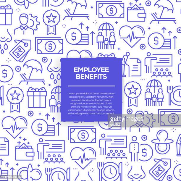 vector set of design templates and elements for employee benefits in trendy linear style - seamless patterns with linear icons related to employee benefits - vector - charity benefit stock illustrations