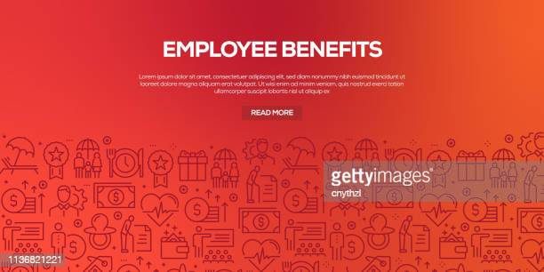 vector set of design templates and elements for employee benefits in trendy linear style - seamless patterns with linear icons related to employee benefits - vector - employee stock illustrations