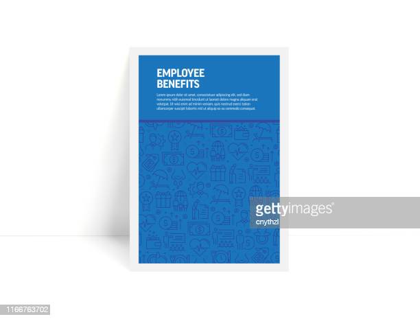 vector set of design templates and elements for employee benefits in trendy linear style - pattern with linear icons related to employee benefits - minimalist cover, poster design - benefits stock illustrations
