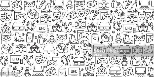 vector set of design templates and elements for entertainment in trendy linear style - seamless patterns with linear icons related to entertainment - vector - arts culture and entertainment stock illustrations