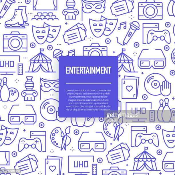 vector set of design templates and elements for entertainment in trendy linear style - seamless patterns with linear icons related to entertainment - vector - nightlife stock illustrations