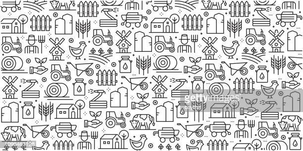 vector set of design templates and elements for farm and agriculture in trendy linear style - seamless patterns with linear icons related to farm and agriculture - vector - tractor stock illustrations