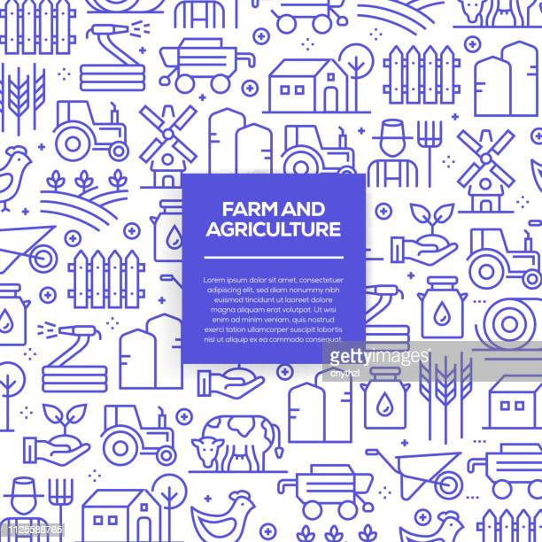 vector set of design templates and elements for farm and agriculture in trendy linear style - seamless patterns with linear icons related to farm and agriculture - vector - farm stock illustrations