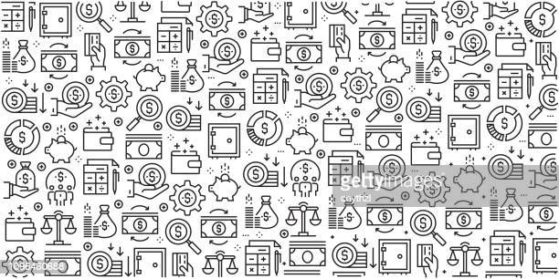 vector set of design templates and elements for finance in trendy linear style - seamless patterns with linear icons related to finance - vector - investment stock illustrations