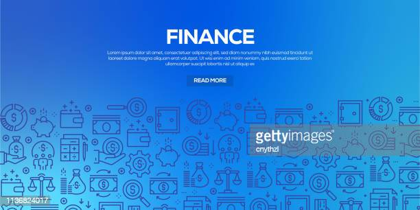 vector set of design templates and elements for finance in trendy linear style - seamless patterns with linear icons related to finance - vector - loan stock illustrations