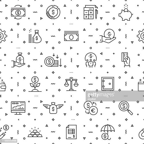 vector set of design templates and elements for finance in trendy linear style - seamless patterns with linear icons related to finance - vector - accountancy stock illustrations
